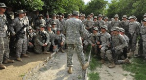 100805-F-7552L-211        Commander of the International Security Assistance Force Gen. David H. Petraeus (center), U.S. Army, talks with U.S. soldiers of the 2nd Battalion, 327th Infantry Regiment, 1st Brigade Combat Team, 101st Airborne Division at Combat Outpost Monti in eastern Afghanistan on Aug. 5, 2010.  DoD photo by Staff Sgt. Bradley Lail, U.S. Air Force.  (Released)